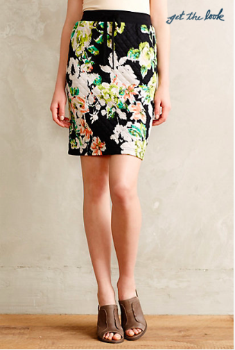 Anthropologie Quilted Floral Pencil Skirt.