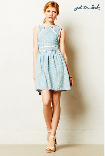 Anthropologie Chambray Dot Dress.