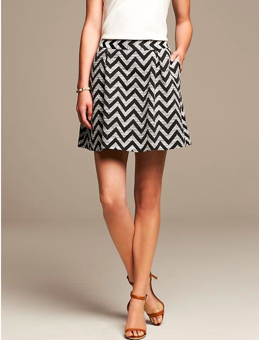 Banana Republic Zigzag Pleated Skirt.