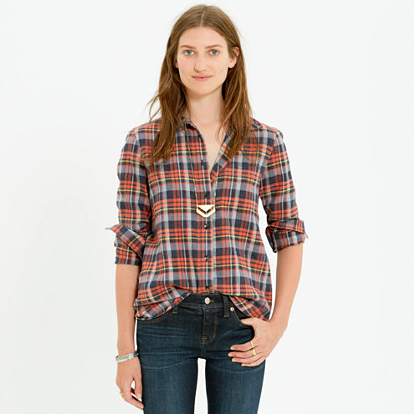 Madewell Plaid Boyshirt in Rose Tartan.