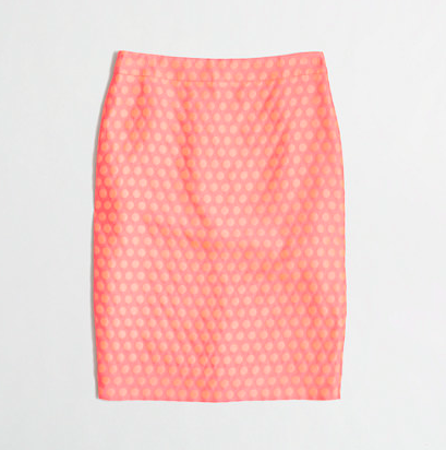J.Crew Factory Polka Dot Pencil Skirt in neon flamingo. {currently on a great sale!}