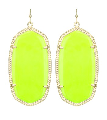 Kendra Scott Danielle Earrings in neon yellow.