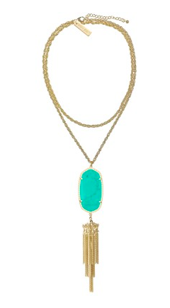 The Rayne Necklace in teal.