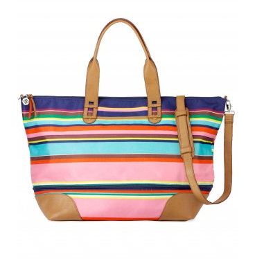 The Getaway Weekender Bag in Multistripe, $138.