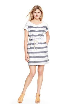 Gap Wide-Striped Linen T-Shirt Dress, $64.95.