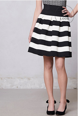 Anthropologie Scalloped Striped Ponte Skirt, $98.