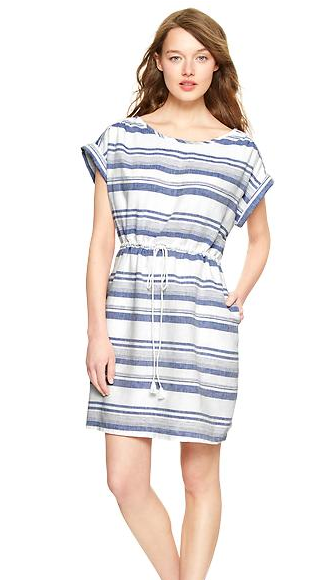 Gap Multi-Stripe Linen T-Shirt Dress, $49.99.