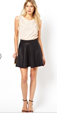 ASOS faux-leather skater skirt {very similar style to the one I am wearing!}, $67.