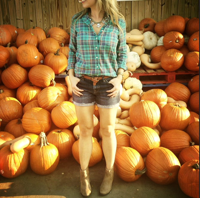 denim shorts and plaid for a warm Texas fall day.