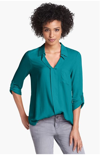 Pleione Mixed Media Shirt, $34.80. {Reg. $58.}