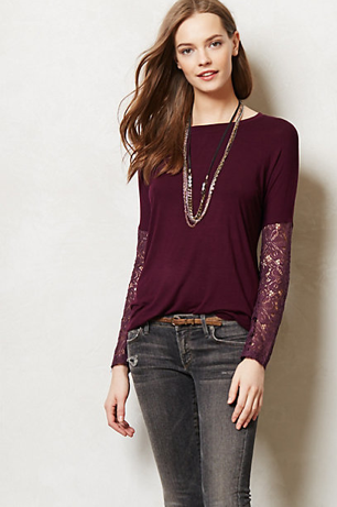 Anthropologie Lace-Sleeved Scoopneck in Plum, $58.