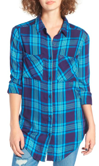 Nordstrom BP plaid tunic top, $45, available in 7 colors