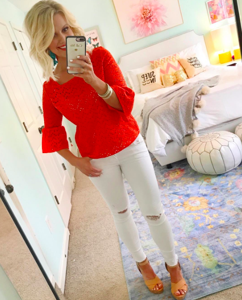 7d0a5237f52 I wore this vibrant coral lace top this week for my home shoot with Home  Depot. It s such a flattering top and perfect paired with white for summer.