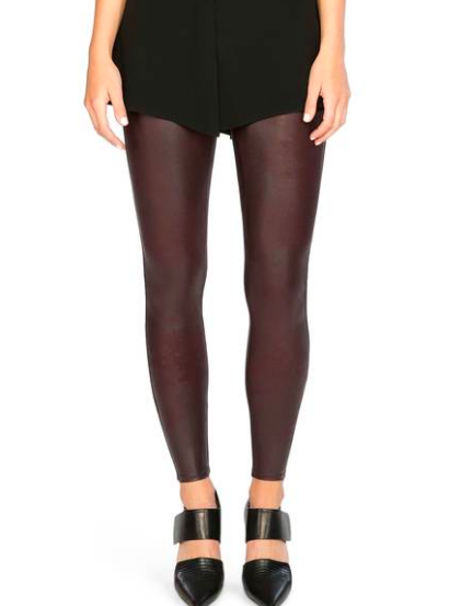 If you already own black leather leggings, I also have  these Spanx leggings in wine  and love this color! It looks amazing paired with black, ivory and/or grey!