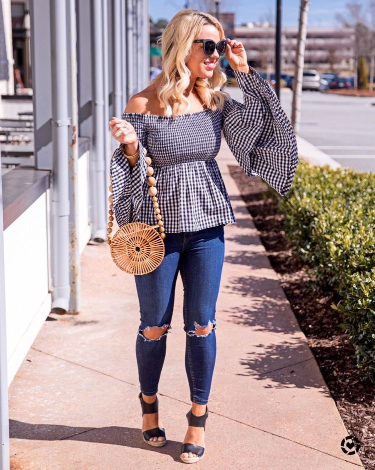 5ca1ce6757eb Gingham Flare-Sleeved Top — Atlanta Fashion Blogger - Edit by Lauren