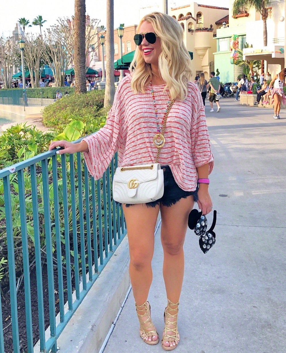 This breezy striped Free People top  is another comfy option for Disney days! I changed into this outfit for dinner and an evening at Hollywood Studios.