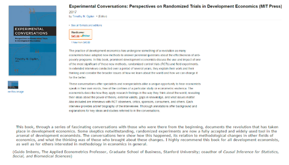 Shameless Screen Shot of the Week: My book of interviews about RCTs in Development Economics is now available for pre-order. And because pre-orders for economics books is a thin market, a single purchase can radically change it's sales rank. So pre-order now. It makes a great holiday gift--even Guido Imbens thinks so.