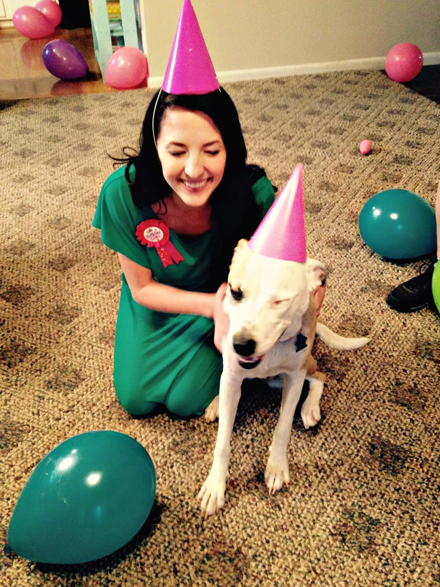 Darling Be Brave blog - Lexi the Pit Bull wears a party hat