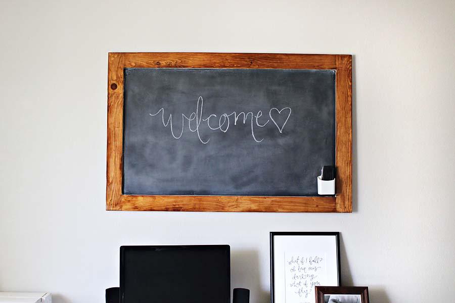 diy magnet board changed to chalkboard // via darlingbebrave.com
