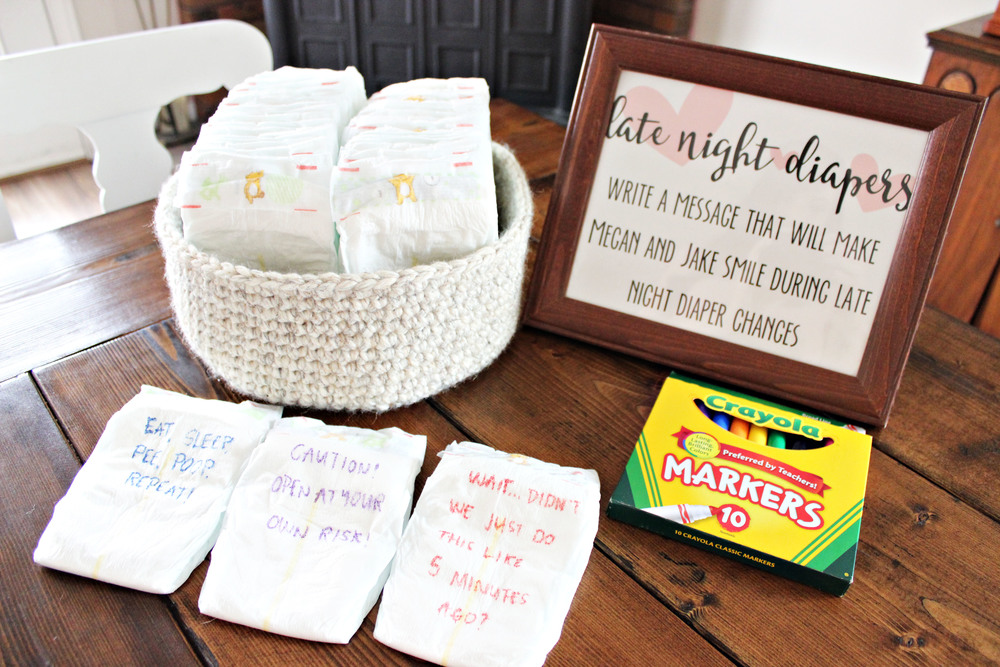 "baby shower ""late night diapers"" game // via www.darlingbebrave.com"