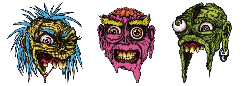 ZOMBIE HEADS, PEN & INK ON VELLUM, DIGITAL COLOR