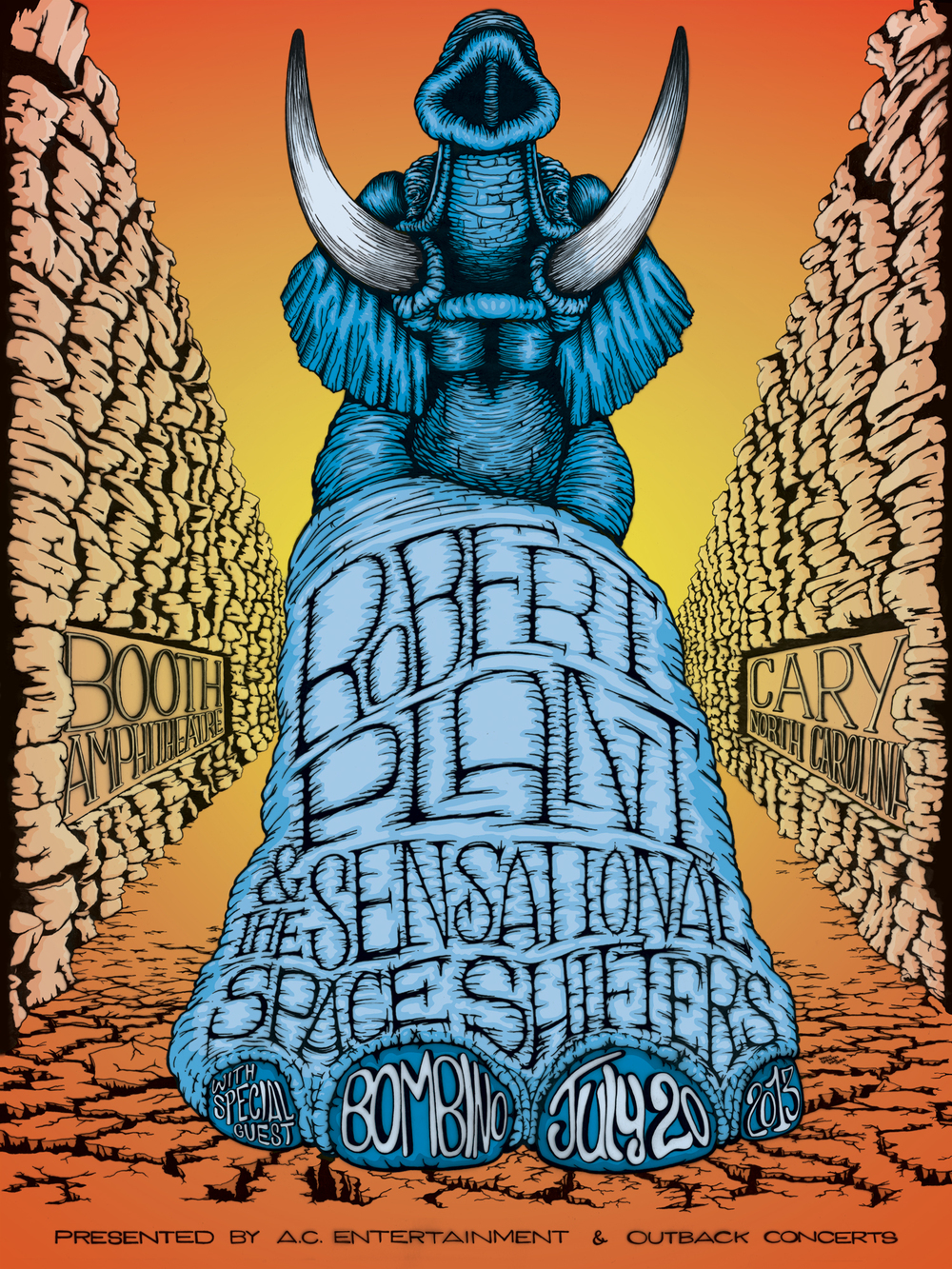 "ROBERT PLANT & THE SENSATIONAL SPACE SHIFTERS POSTER, PEN & INK on VELLUM, 18"" x 24""  [PRINTS AVAILABLE]"
