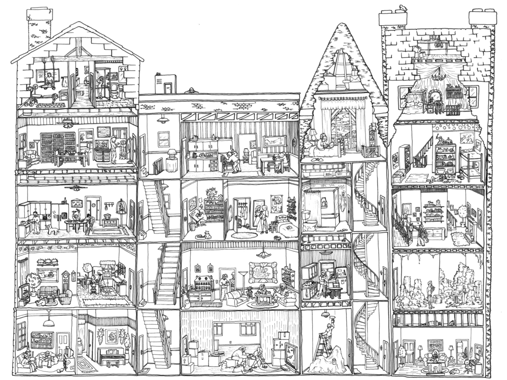 Coloring pages buildings ~ Maps & Cutaways — Carden Illustration