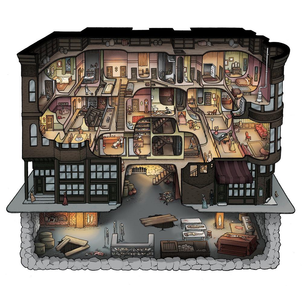 H h holmes murder castle prints carden illustration for Final fortress blueprints