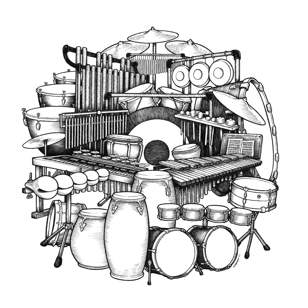 "Percussion Ensemble, Pen & Ink on Bristol, 12""x12""   [Prints Available]"