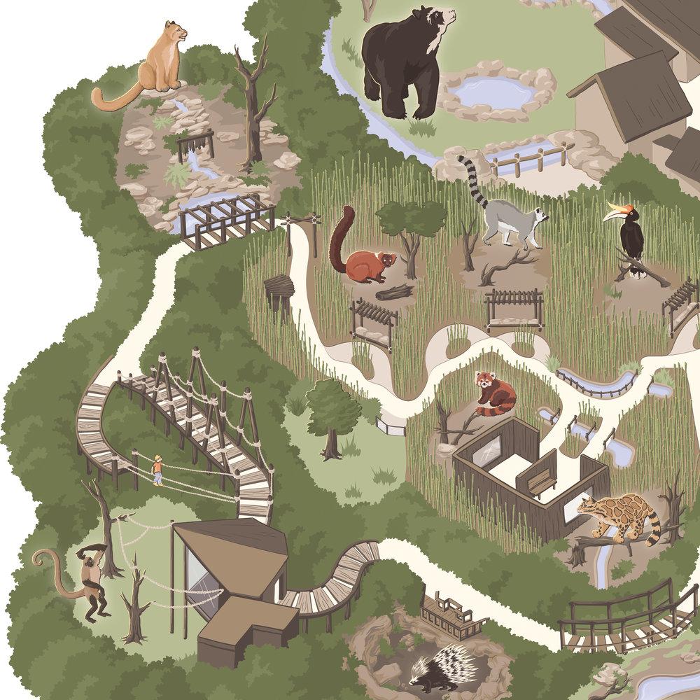 nashville zoo map carden illustration
