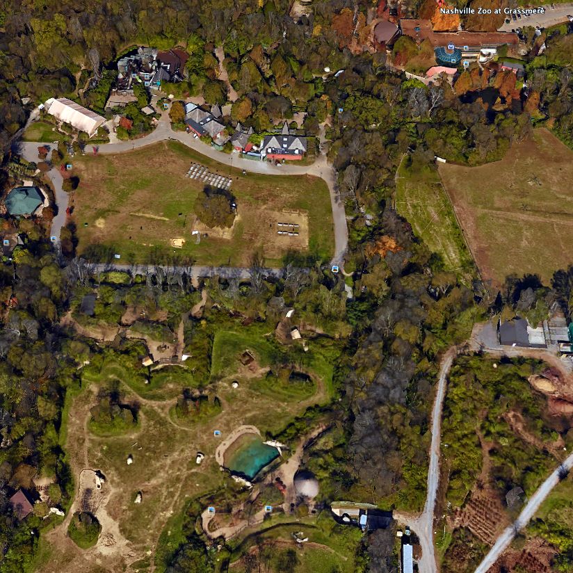 View of the zoo from Google Earth (the map is oriented south-up, so this appears upside down in comparison...)
