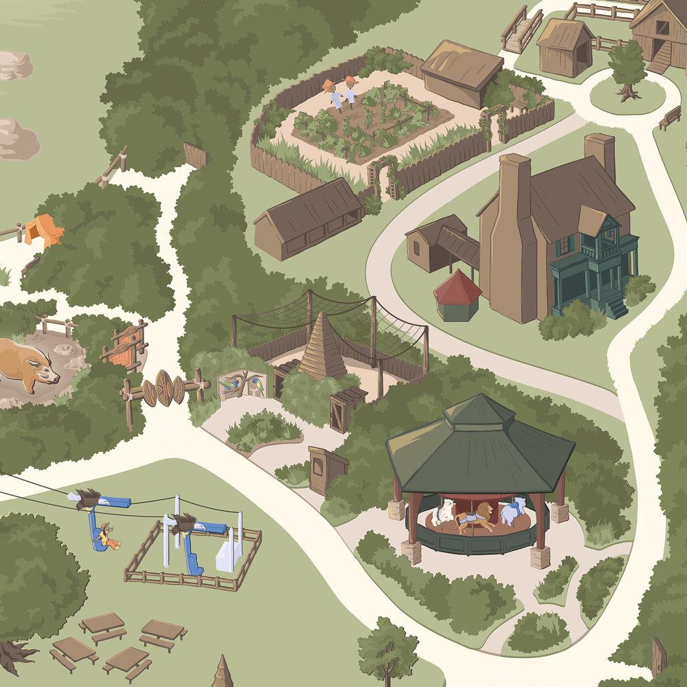 making the nashville zoo map carden illustration