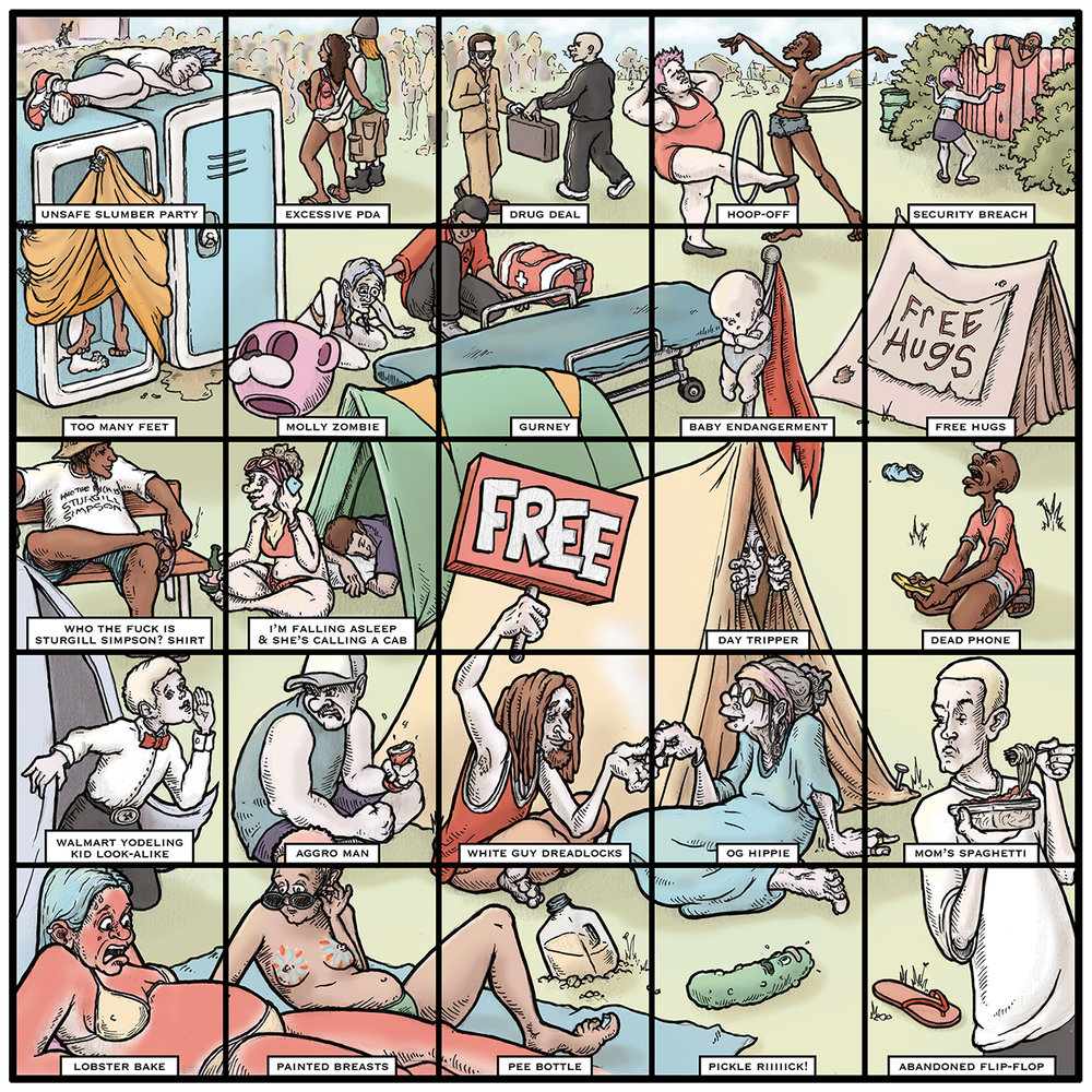 "2018 Bonnaroo Bingo for the Nashville Scene, pen & ink w/ digital color, 10"" x 10"""