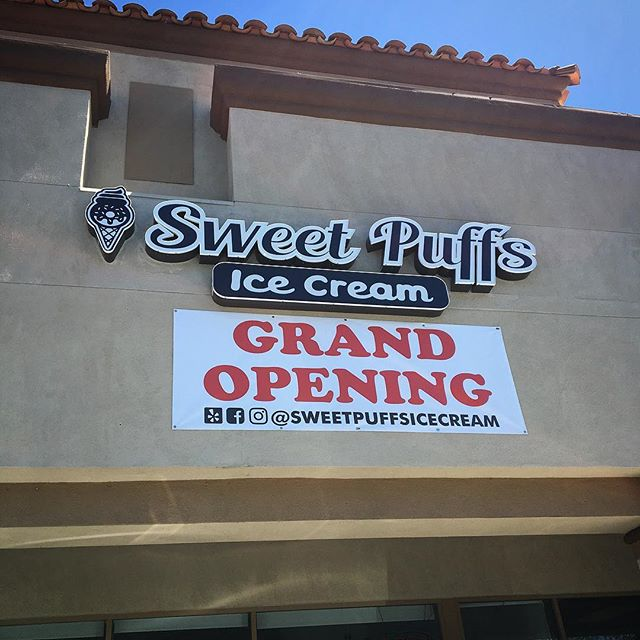 We make #banners too! Congrats again to @sweetpuffsicecream on their #grandopening! All signs are designed, produced and installed by @calsigns 🎉🍩🍦#signs #business #banner #sacramento #elkgrove #calsigns