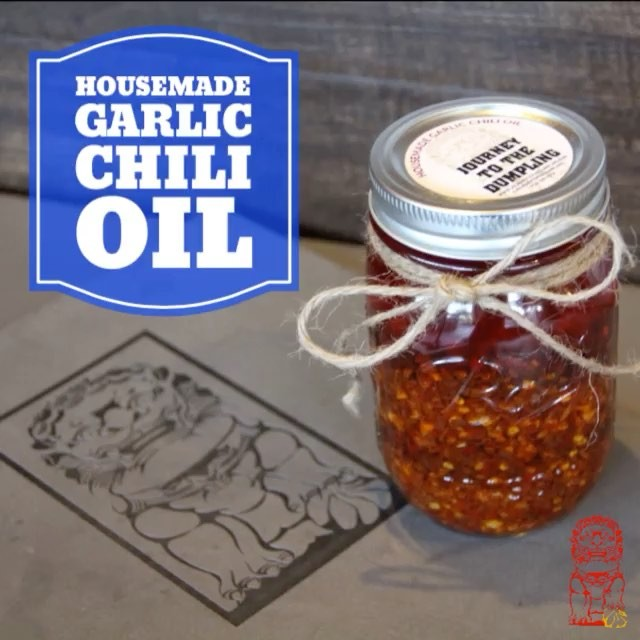 Custom Food Label Decals for Journey to the Dumpling's Housemade Garlic Chili Oil! Decals are a perfect choice as it prevents any oil or water from coming in contact with the label.