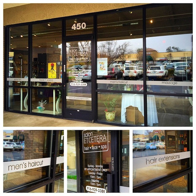 Etched glass vinyl for the windows and doors. This gives a clean and professional appearance. Made for  @salonetcetera in  #eldoradohills ! 💅💇 #signs  #salon