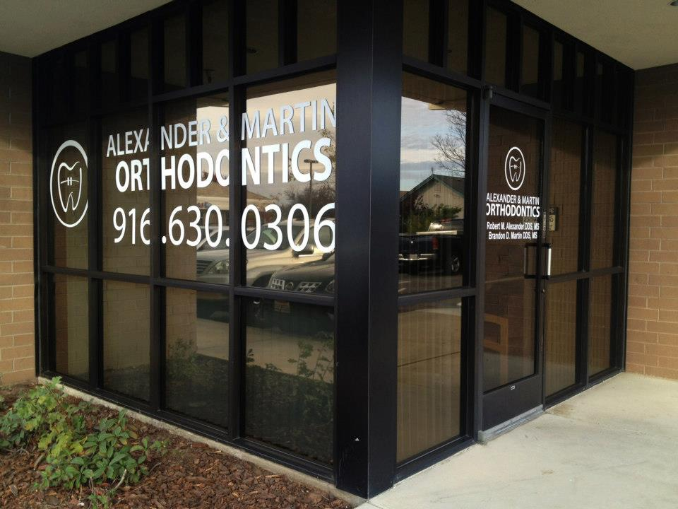 Window Vinyl Lettering for AMO Orthodontics in Rocklin, CA. www.ambraces.com