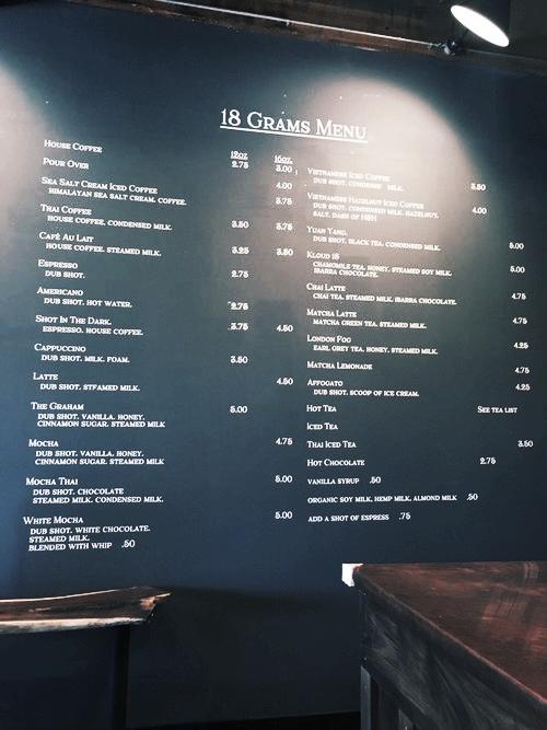 Massive custom menu made for 18 Grams located in Elk Grove!