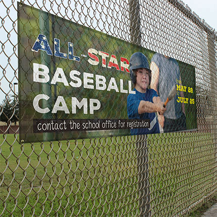 Our 8oz Mesh Banners allow for a 37% air-flow through, making them ideal for building, stadium, and fence wraps.
