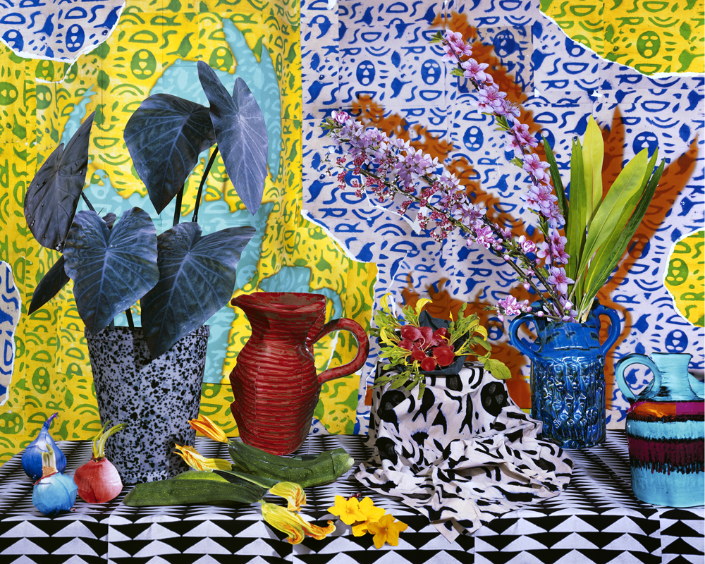 Daniel Gordon,  Still Life with Cherry Blossoms and Zucchini , 2013, C-Print, 50 x 60 inches