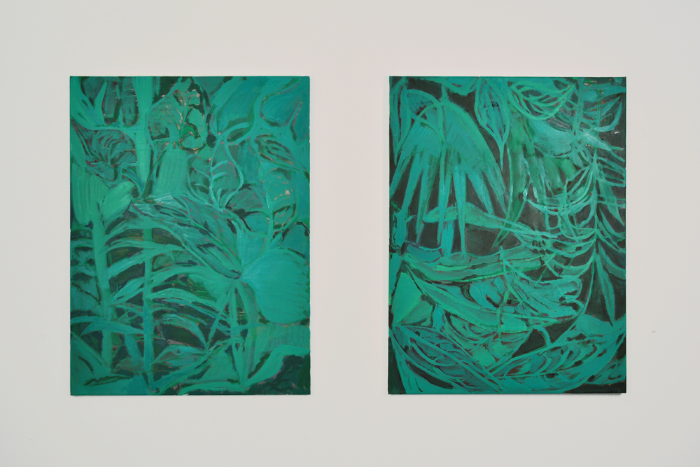 Kristina Lee,  W.I.R.I.T.F. (2 & 3) , 2013, Acrylic and oil on canvas, 40 x 30 inches each