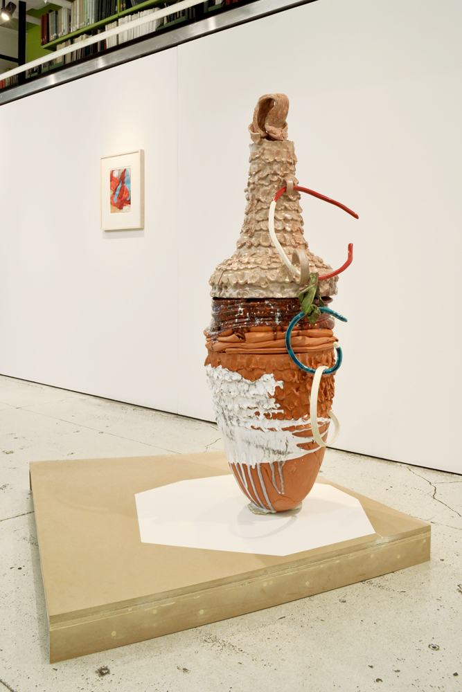 "Installation view of  Vessels  with Nicole Cherubini's ""Earth Pot 2"" and Beverly Semmes' ""Teapot."""