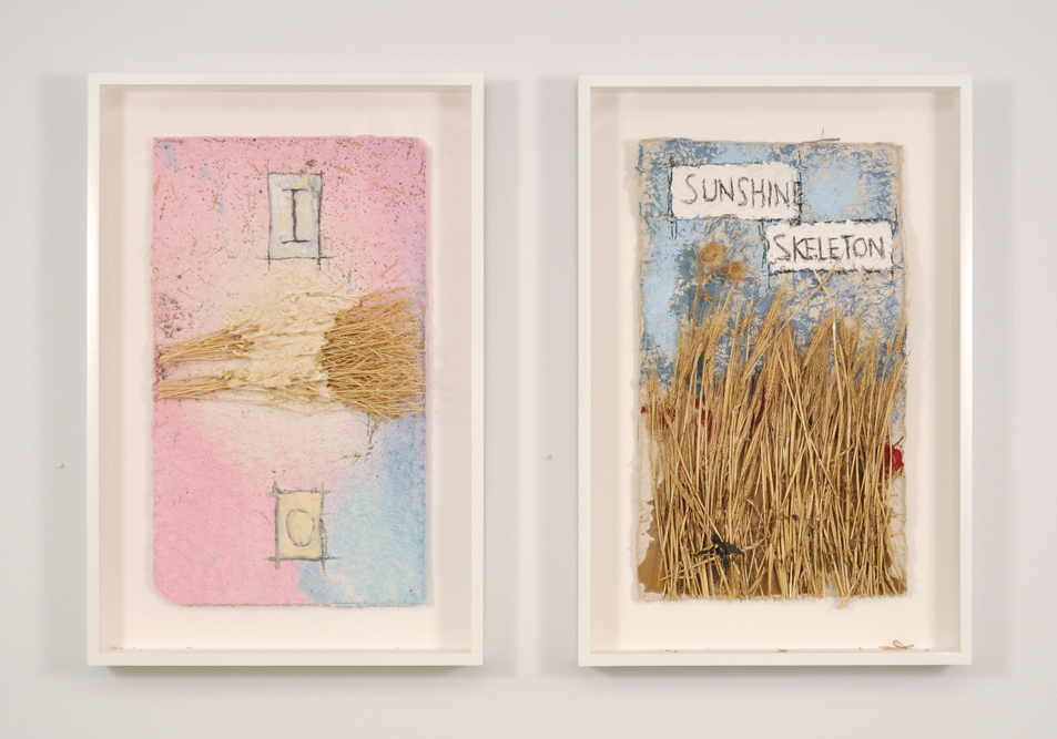 Peter Nadin's paintings on handmade paper,  Mustard I  and  Wheat I  (both 2012).