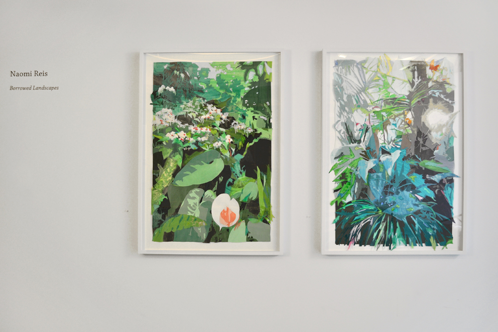 Installation view: Naomi Reis,  Borrowed Landscape (Tropics of Africa, Asia and the Amazon via Kyoto) , 2012-13, and  Borrowed Landscape (Tropics of Africa, Asia and the Amazon via The Bronx) , 2013, Mixed media collages on paper, 43 1/4 x 30 3/4 inches each (framed).