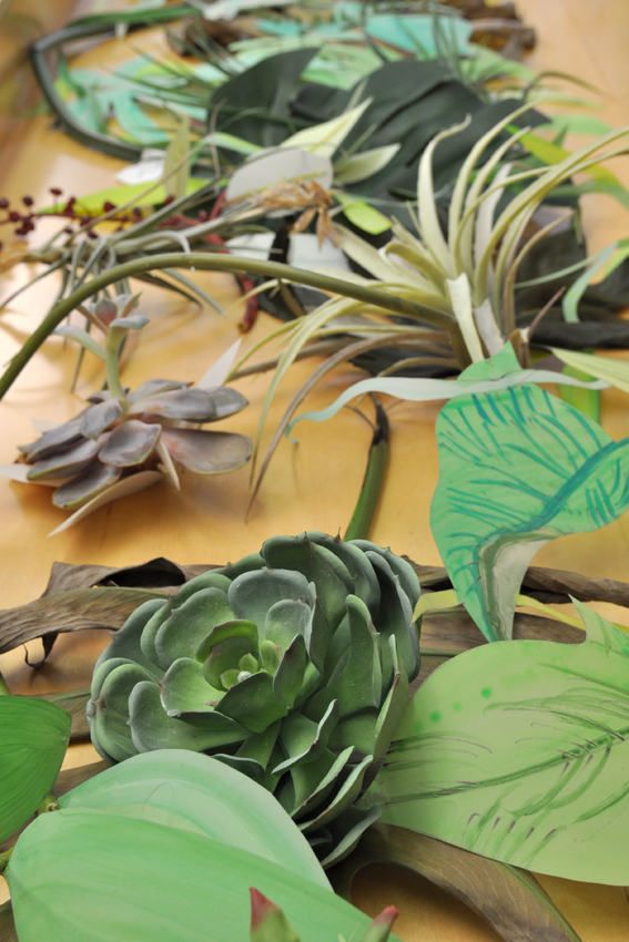 Naomi Reis,  Flower Arrangement of Lasting Art: New York, NY, Made in China  (detail), 2013, Artificial and live plants, cut tropical foliage, recycled ink and acrylic drawings on mylar, Dimensions variable.