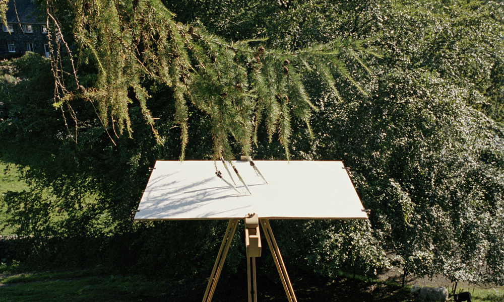 Tim Knowles,  Tree Drawing – Larch on Easel #1 [4 pens]: The How, Borrowdale, Cumbria  (detail), 2005, Courtesy of the artist and bitforms, NY.