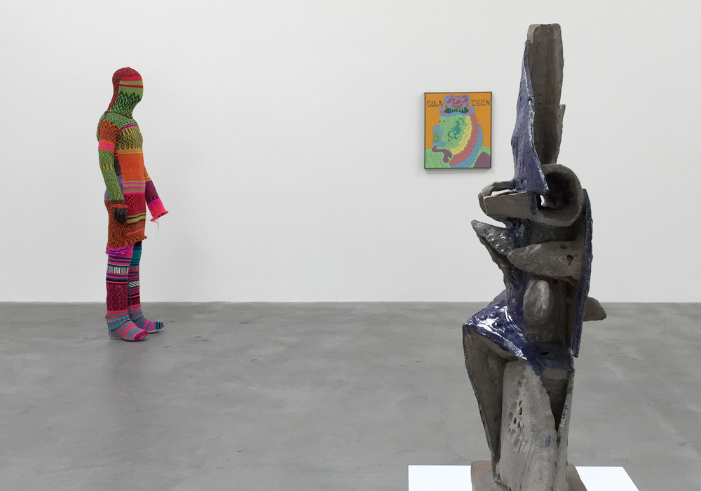 From left to right: Forcefield's  P Lobe Autumn Shroud  (2002), Karl Wirsum's  Gilateen  (1968), and Peter Voulkos'  Blue and Gray  (1959);  What Nerve! , Matthew Marks Gallery, NY.  (Photo: Chris Murtha)