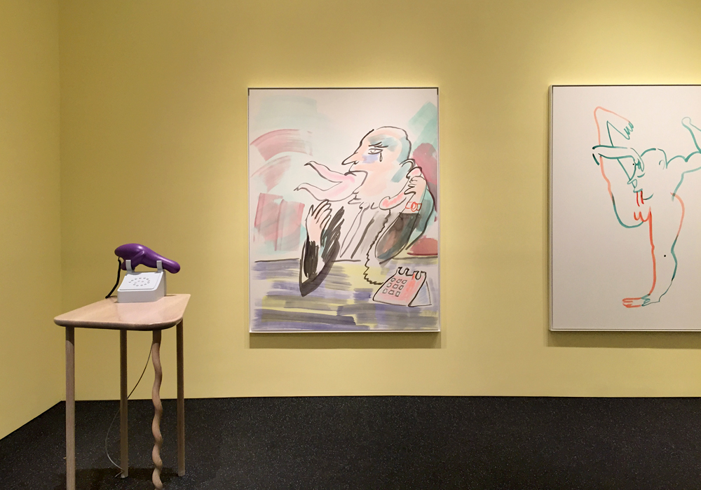 "Top:  Is He Cheating , 2015, three-dimensional resin print with video and telephone components, 37 7/8 x 9 1/2 x 3 1/4 inches; Bottom: Installation view, ""Camille Henrot,"" Metro Pictures Gallery, NY."