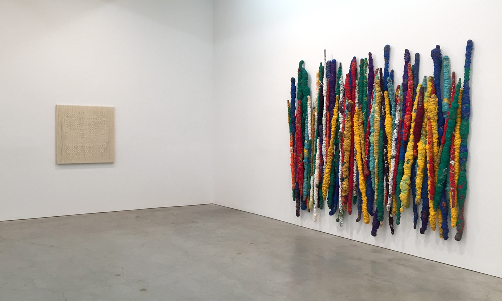 "Top: Installation view with  White River (Fleuve Blanc) , 2013-14; Bottom: Installation view with  Agreed Upon , 2015, and  Perpetual Migration , 2014-15; ""Sheila Hicks,"" Sikkema Jenkins & Co., NY. (All photos by Chris Murtha unless otherwise noted.)"