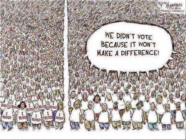 "Have you ever heard someone say, ""Why vote?  It's not going to make a difference"" or ""I don't have time, one vote won't matter anyway.""  I've heard so many people say things similar to these statements over the years, and during one brief moment in my life I almost started to believe it myself."